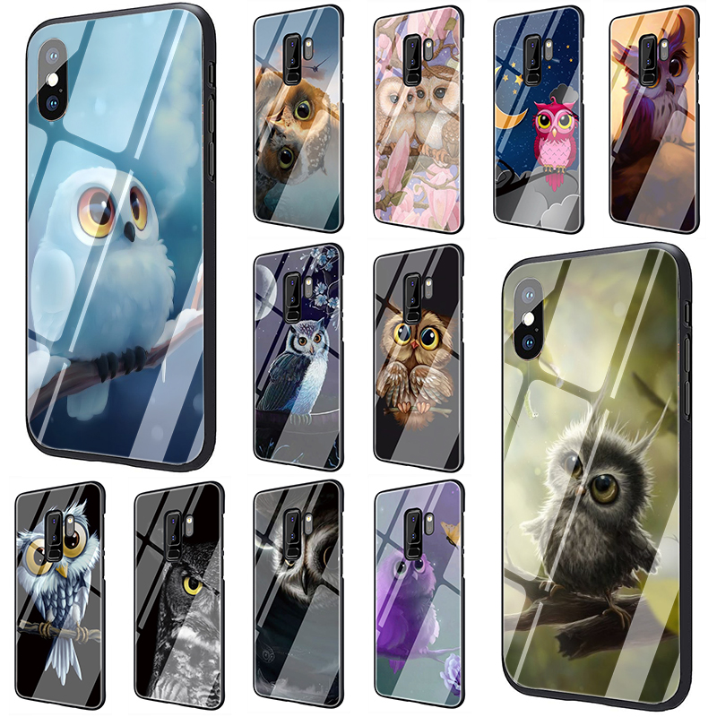 Animal Owl on the tree Tempered Glass <font><b>phone</b></font> <font><b>case</b></font> for <font><b>Samsung</b></font> Galaxy S7 Edge S8 <font><b>S9</b></font> S10 Plus Note 8 9 A10 A20 A30 A40 A50 A60 A70 image