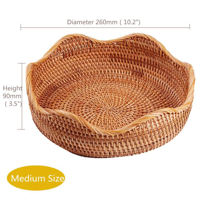 Handmade Rattan Round Fruit Basket Food Storage Bowls Kitchen Organizer Snack Serving Bowl (3-Size Kit)