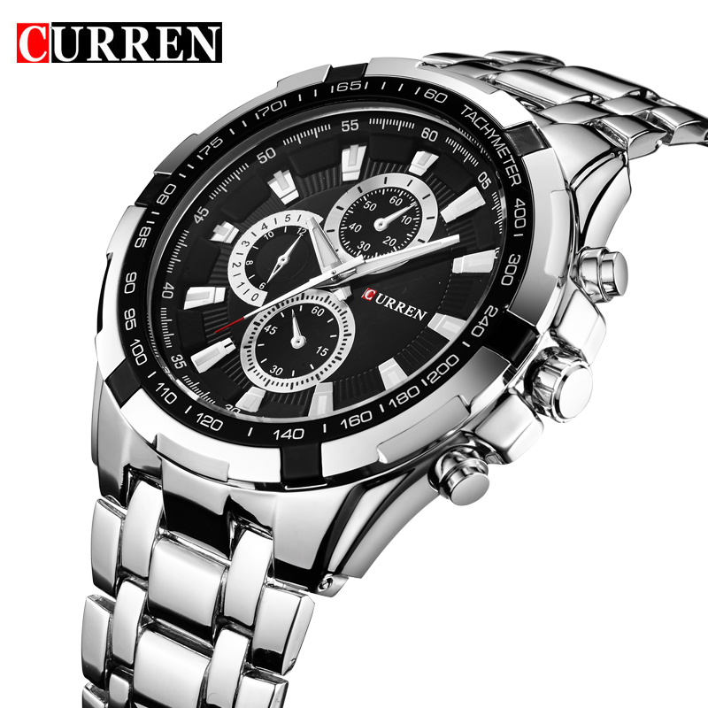 цены  CURREN 8023 Mens Watches Top Brand Luxury Stainless Steel Quartz Men Watch Military Sport Clock Man Wristwatch Relogio Masculino