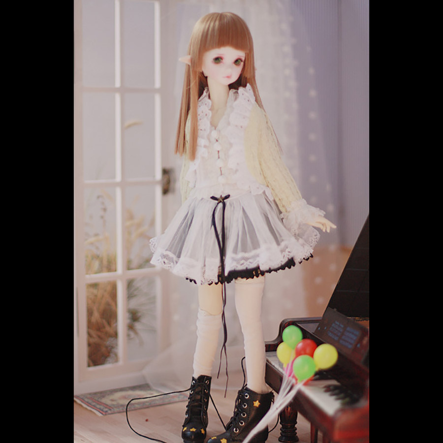 Bybrana Msd Dz Bjd Sd Dd Doll Clothes Set Yellow Cardigan + White Lace Vest + White Lace Skirt + Black Lace Skirt + White Socks