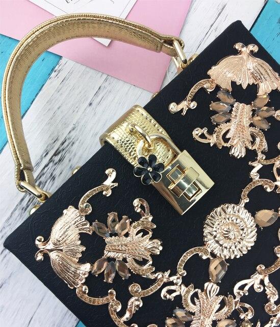 Luxury high quality diamond carved hollow lock retro fashion design mini flap women's handbag shoulder bag messenger bag box bag