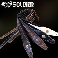 New Handmade Leather Guitar Strap Electric Guitar Bass Straps Crafted Dark Brown Genuine Leather Fashion Design