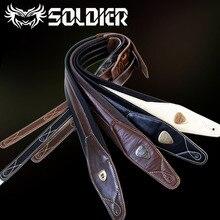 Nuevo hecho a mano de cuero correa de la guitarra de la guitarra eléctrica/bajo hecho a mano de Color Marrón Oscuro de Cuero genuino diseño especial