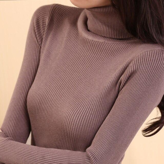 Осень средней длины эластичный свитер с длинными рукавами Женский пуловер свитер с высоким воротом зимняя