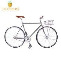 Фикси велосипед с фиксированной передачей Велосипед трек Односкоростной велосипед 700C 52 см винтажные изделия ручной работы кадр ретро стал