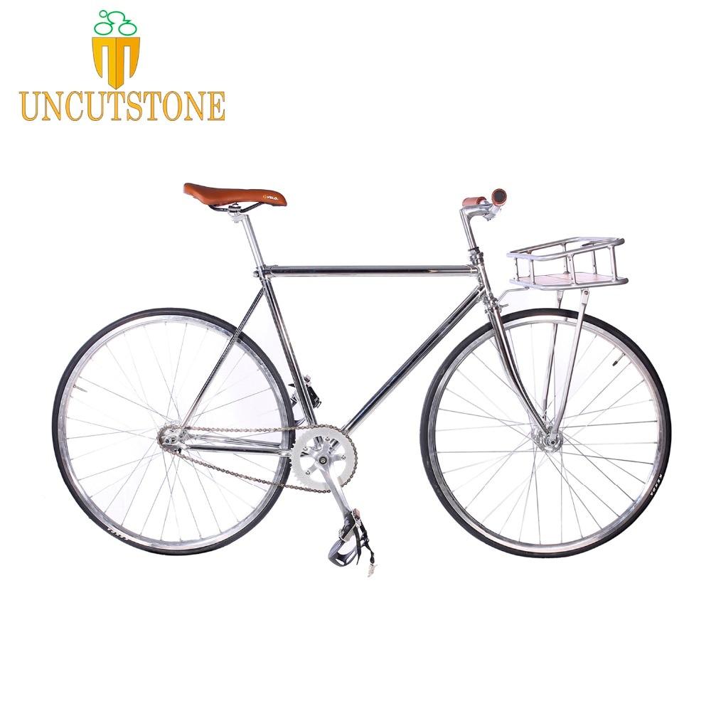 Fixie Bike   Fixed Gear Bike Track Single Speed Bike 700C  52cm   Vintage DIY Frame Retro Steel Bike Frame Sliver