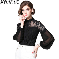 AYUNSUE Black Shirt Womens Clothing 2018 Spring Elegant Lace Blouses Long Sleeve Chiffon Blouse Women Tops