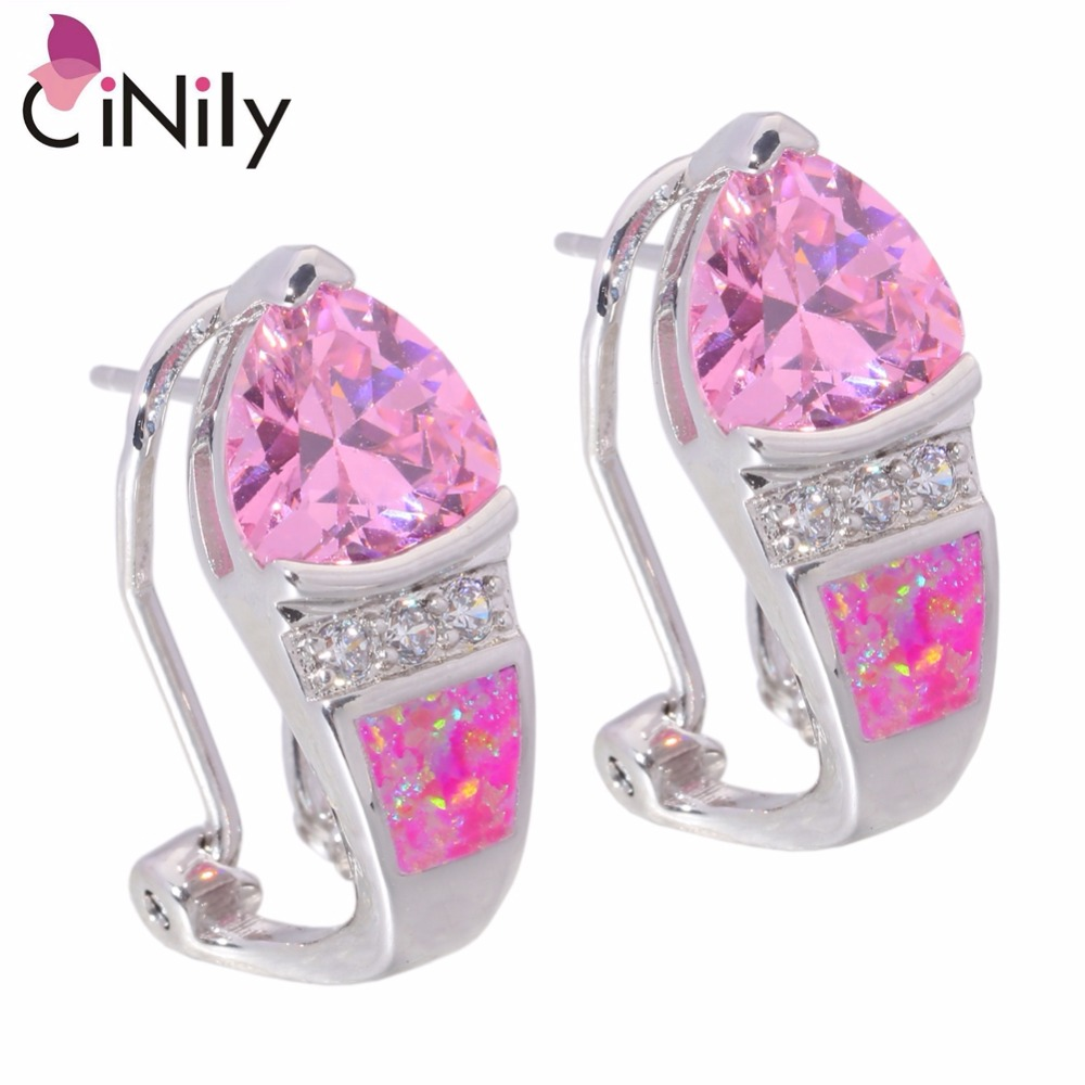 CiNily Created Pink Fire Opal Pink Zircon Cubic Zirconia Silver Plated Earrings Wholesale for Women Jewelry Stud Earrings OH3526