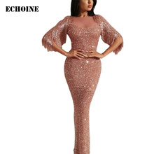 Echoine luxury Sequin Maxi Dress Slim Bodycon Tassel Fringe Elegant Evening Party Long Sheer White Dresses Vestidos