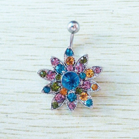 2014 New Desgin Multicolor Gem Lotus Flower Navel Belly Button Ring Charming Piercing 14G 316L Surgical