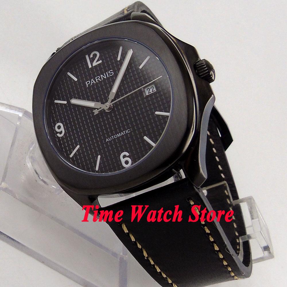 Parnis watch 40mm PVD square case sapphire glass black dial luminous 21 jewels MIYOTA Automatic movement Men's watch men 890 цена и фото