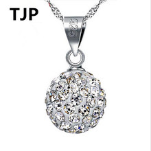 TJP Trendy 925 Sterling Silver Pendants Necklace For Women Wedding Party Shiny Crystal Female Choker Girl Lady Gift