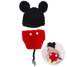 2Pcs/set Baby Mickey second-piece Suit Newborn Baby Girls Boys Crochet Knit Costume Photography Prop Outfits(China)