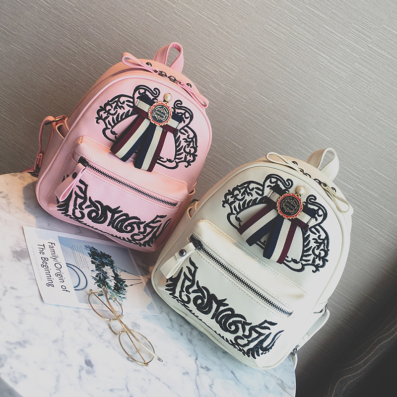 2017 new vintage color belt black/white/pink women embroidery PU backpack lady's small size embossing knapsack school pack