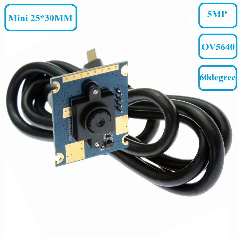 ELP 5MP 2592*1944 Micro Mini Document Capture CMOS OV5640 UVC USB Inspection Camera Board PCB Webcam Module with 60degree lens