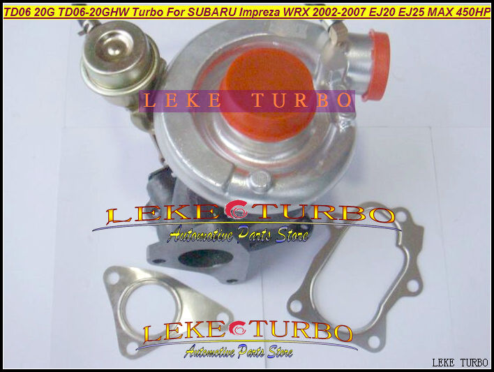 Free Ship Turbo TD06 20G TD06-20G TD06-20GHW Turbocharger For SUBARU Impreza WRX 2002-07 2.0L EJ20 EJ25 MAX 450HP Gaskets + pipe  hosingtech for subaru impreza wrx grb ej25 07 ver 10 silicone turbo kit
