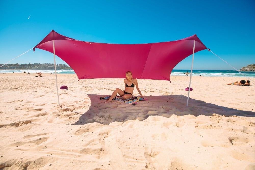Beach SunShade Beach Tent With Sandbag Anchors 2 FREE Poles UPF50 Quality Lycra Fabric Perfect Sun