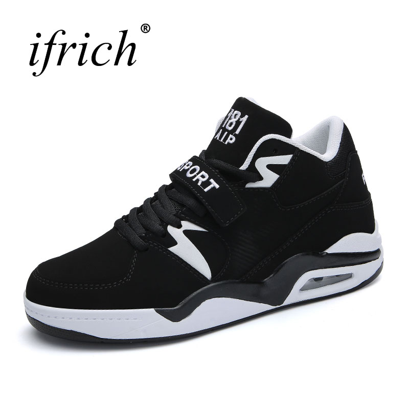 Ifrich New Big Size 38-46 Mens Basketball Shoes Air Cushion Mens Training Shoes Black Wh ...