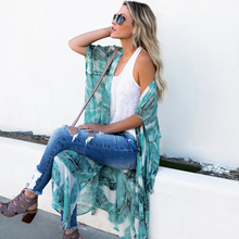 JSMY Women New Summer Beach Holiday Banana Leaf Cardigan Kimono Chiffon Sunscreen Shirt Shawl Dress