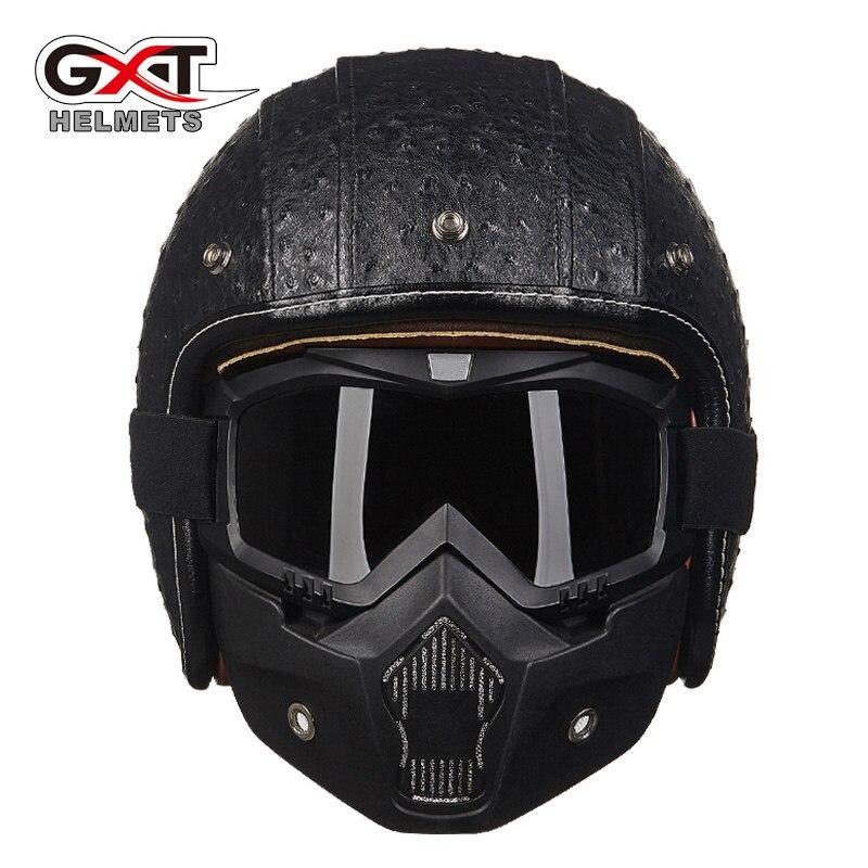 GXT Vintage casque de Moto PU cuir Moto lunettes masque bulle visière rétro Scooter vélo casques Moto casque