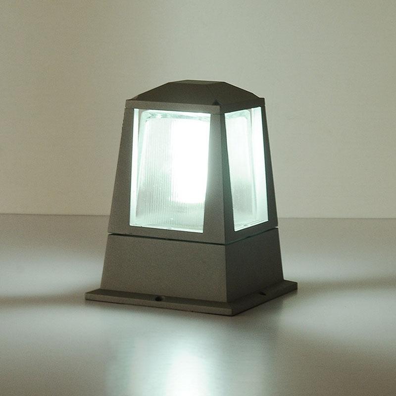 Modern Black Aluminum Tea Glass Globe Outdoor Garden Pillar Lantern Lights IP65
