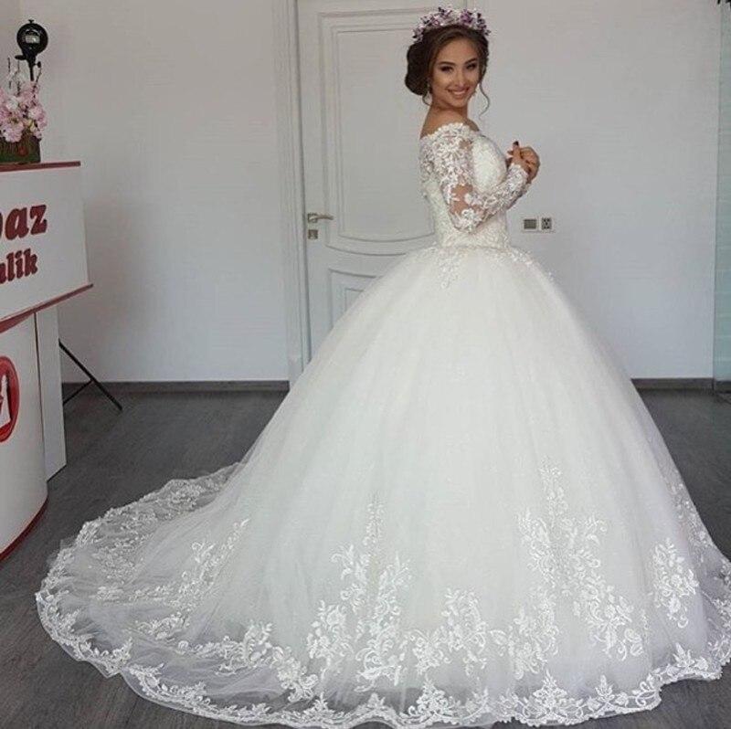 Robe De Mariage 2018 Long Sleeve Wedding Dresses Sheer Tulle Back Sexy Bride Wedding Gowns Pearls Princess Vestido de Noiva