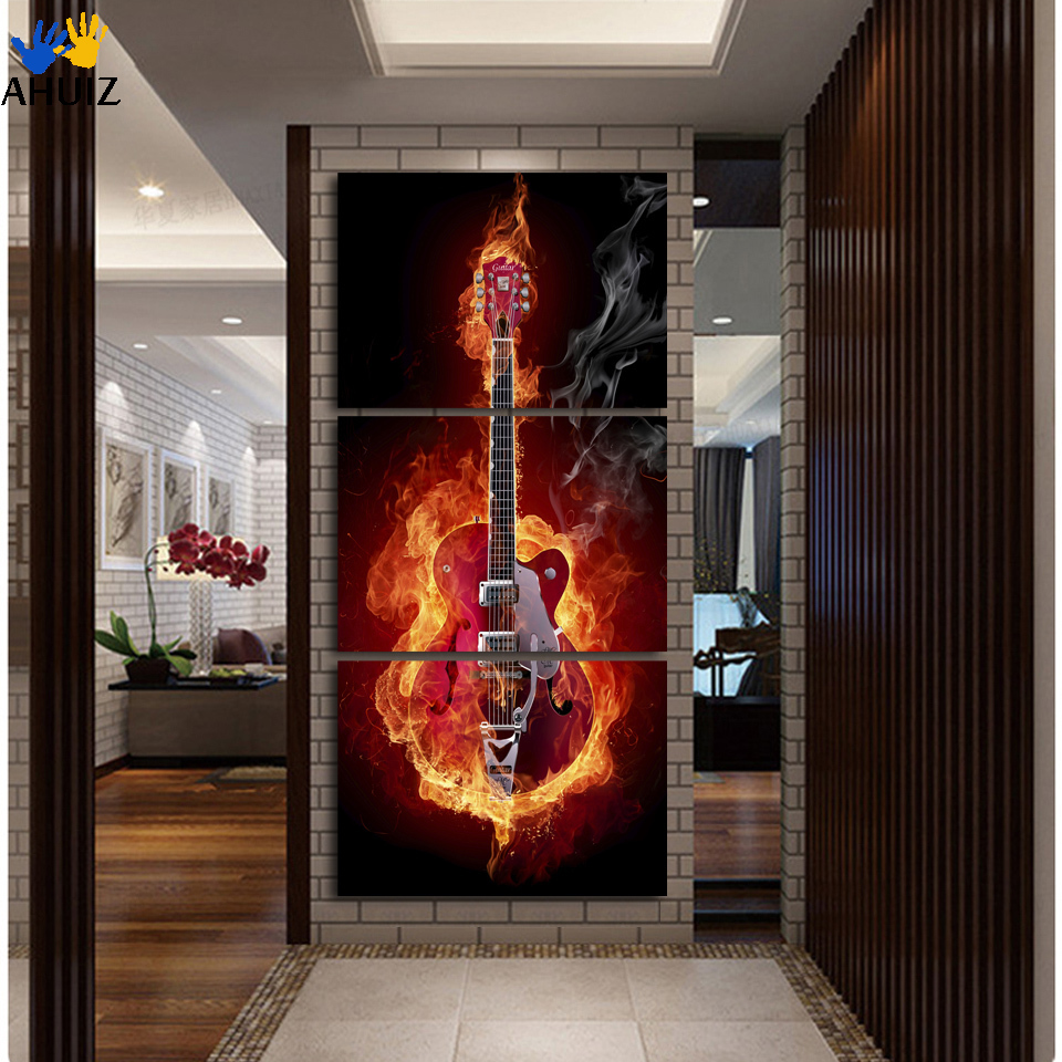 Music Art 3 Panel Wall Painting Modern Home Decors Black Burning Guitar Pop Art Pictures Decorn Printed Self-adhesive
