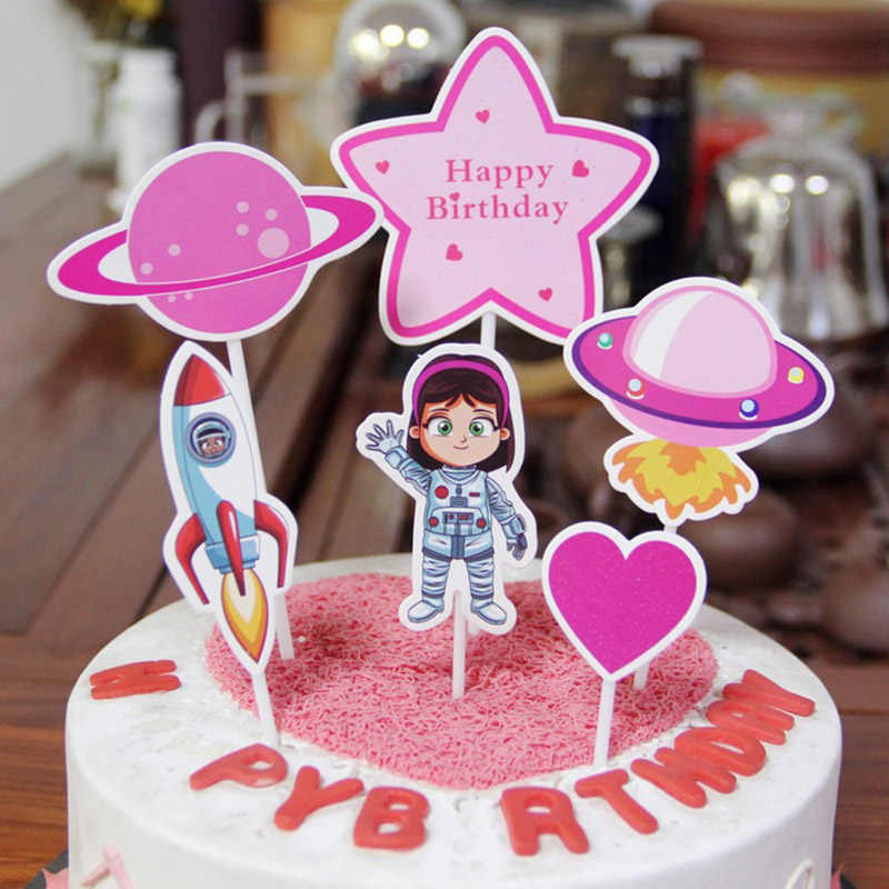 Tremendous 6Pcs Astronaut Cupcake Topper Out Space Happy Birthday Cake Topper Personalised Birthday Cards Paralily Jamesorg