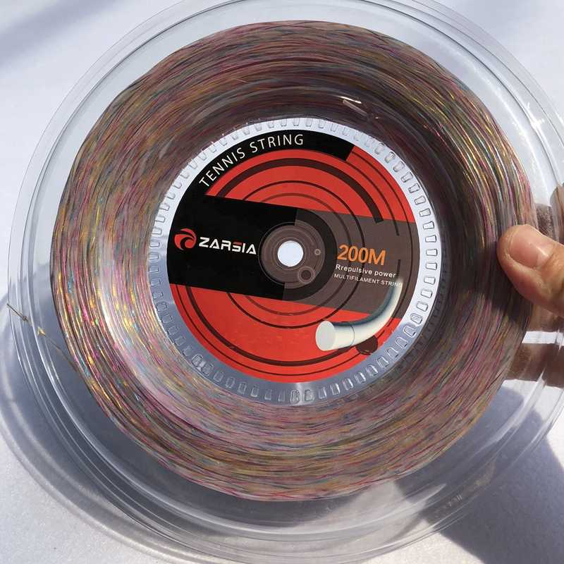 1 Reel 200M ZARSIA 1.35mm synthetic flash nylon Rainbow tennis string soft feeling tennis racket strings