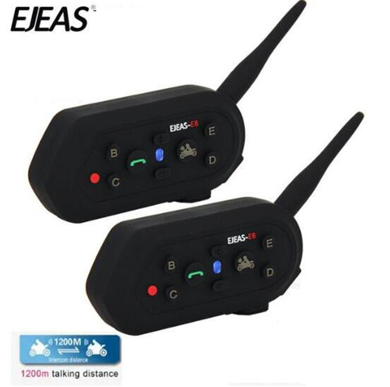 EJEAS Moto Interphone Bluetooth Moto casque casque Communicator étanche 1200 m Interphone pour 6 coureurs Casco Moto 2 pièces