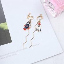 Korean INS Cute Creative Cartoon Arrow Astronaut Fish Carp Woman Girls Clips Earrings Fashion Jewelry-LAF