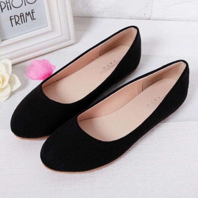 14cd5c25de2 Primavera Verano mujer zapatos Ballet pisos mujeres zapatos planos mujer  Ballerinas negro talla grande 43 44