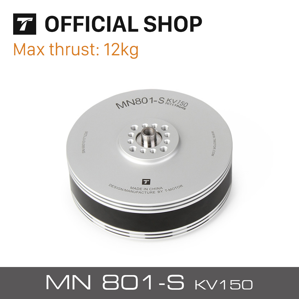 T-motor 12KG+Thrust MN801S 150KV Brushless Electric Motor For VTOL Long Endurance Heavy Load Multicoptor endurance electric 103 0182 rackpinion pwr