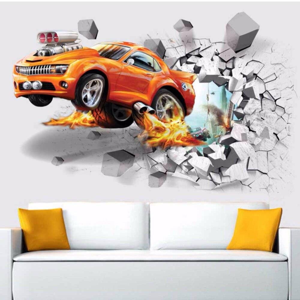 Modern fashion mural poster cars 3d broken wall removable - Poster mural 3d ...