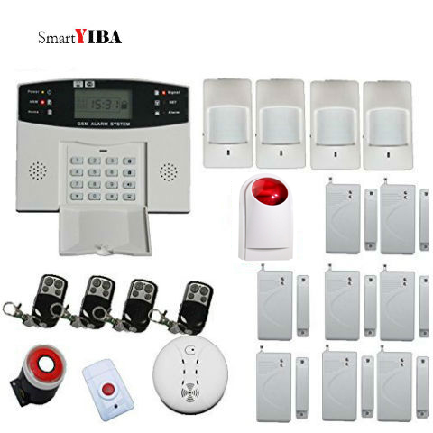 SmartYIBA Security Alarme System Smart House Alarm GSM English Russian French Spanish Italian Czech 2G SMS Alert Voice Prompt free shipping english russian spanish voice version gsm house office using g10a alarm system with sos button