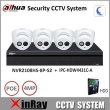 Dahua Caméra de Sécurité Système 4MP caméra IP IPC-HDW4431C-A & 8POE NVR2108HS-8P-S2 Surveillance P2P Système Visualisation À Distance