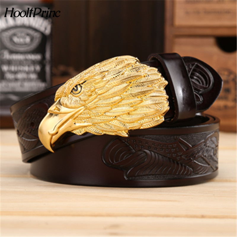 BrandFashion Men Cowhide Leather Belts Luxury Eagle Head Smooth Buckle Belts High Quality Eagle Printing Belt Width 3.8 CM