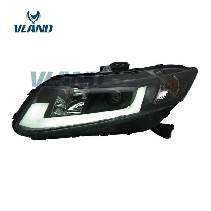 VLAND Factory pour phare de voiture pour Civic 2012 2013 2014 phare LED pour phare civique avec barre de lumière LED bi-xénon