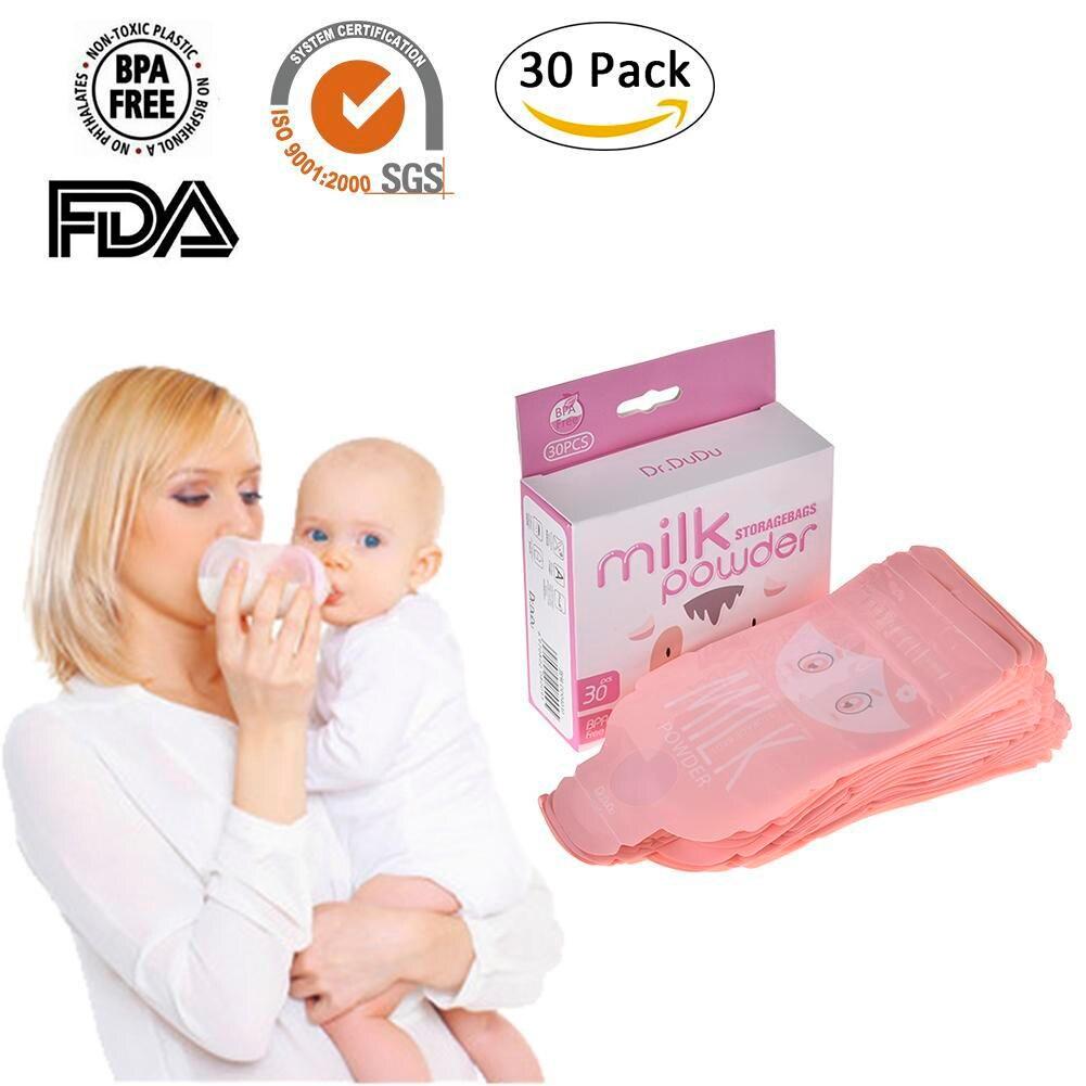 30PCS/Pack Safety Breast Milk Storage Bag Portable Disposable Formula Pouch Dispenser Milk Powder Box Storage Bag for Mum Use