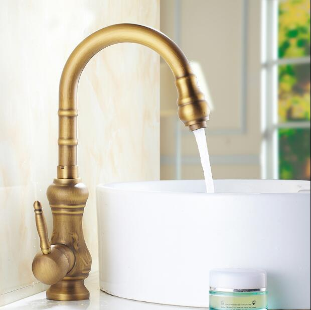 Fashion high quality bronze finished brass Europe style art carved single lever hot and cold kitchen Faucet tap sink faucet high quality europe style brass material