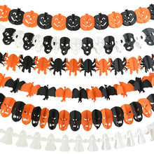 1 Set Halloween Party Papier Girlande Decor Kürbis Fledermaus Geister Spinne Schädel Form Hängen Girlande Dekoration DIY Banner Liefert 7z(China)
