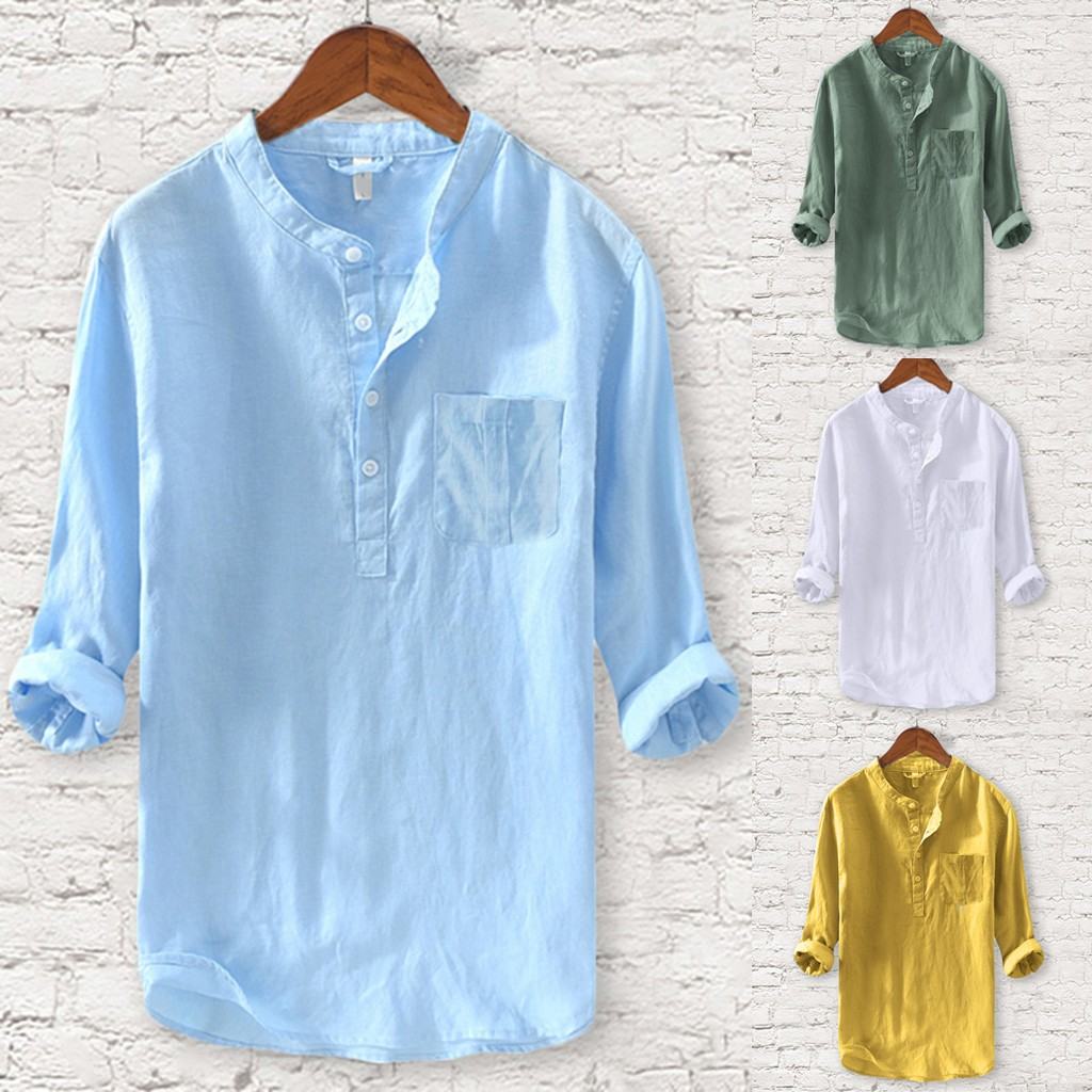 Men's New Style Fashion Pure Cotton And Hemp Long Sleeve Top Casual Blouse Top Camisa Masculina Camisas Hombre Hawaiian Shirt