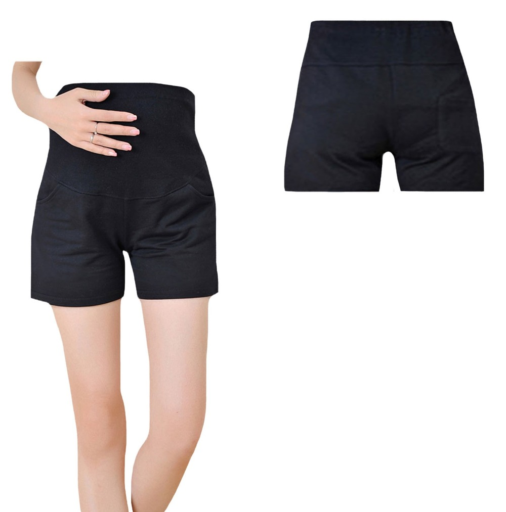 Black White Gray Pregnant Women Maternity Clothes Over Bump Short Pants Clothing LKMP00001