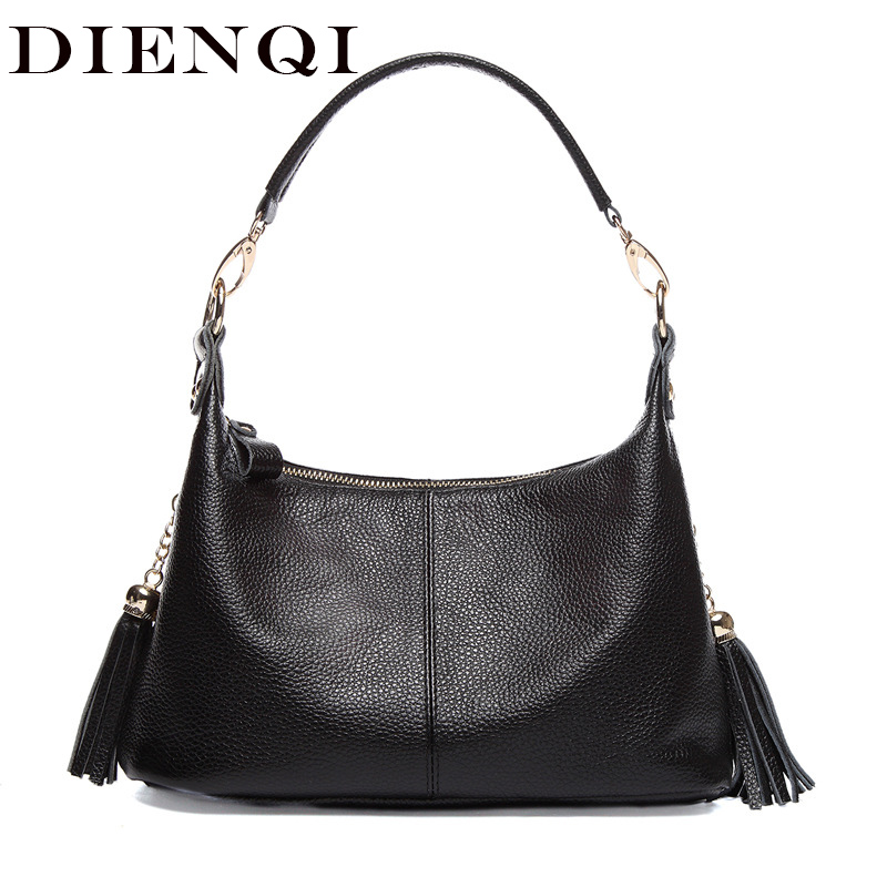 DIENQI Soft Genuine Leather Hobo Shoulder Bag Tassel Small Women Leather Handbags Black Hand Bag Ladies Crossbody Bags for Women футболка с полной запечаткой для девочек printio mikhail vrubel демон сидящий