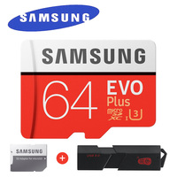 SAMSUNG EVO בתוספת כרטיס זיכרון מיקרו SD 64 GB microSDXC UHS-I C10 U3 100 MB/s 4 K HD כרטיס TF עם מתאם & USB קורא 3.0 כרטיס