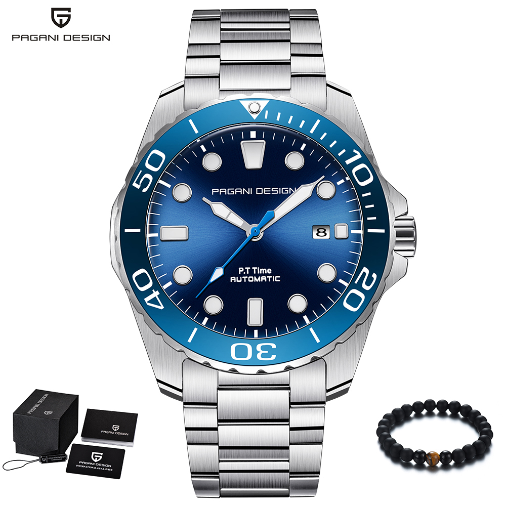 PAGANI projekt marka mężczyźni zegarki luksusowe automatyczne niebieski zegarka mężczyzna zegarek ze stali nierdzewnej wodoodporny biznes Sport zegarek mechaniczny w Zegarki mechaniczne od Zegarki na  Grupa 1