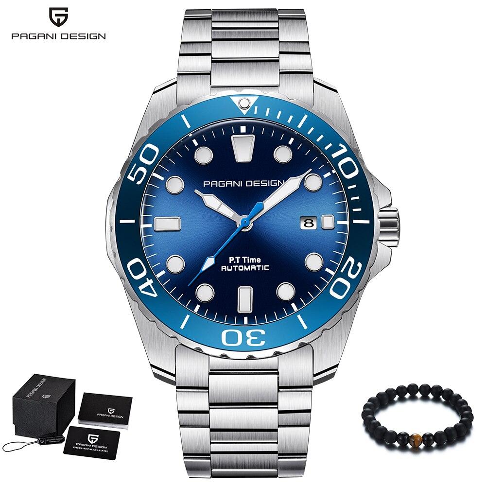 Relojes de lujo de marca de diseño PAGANI para hombre, reloj automático azul de acero inoxidable, reloj de pulsera mecánico deportivo de negocios a prueba de agua-in Relojes mecánicos from Relojes de pulsera    1