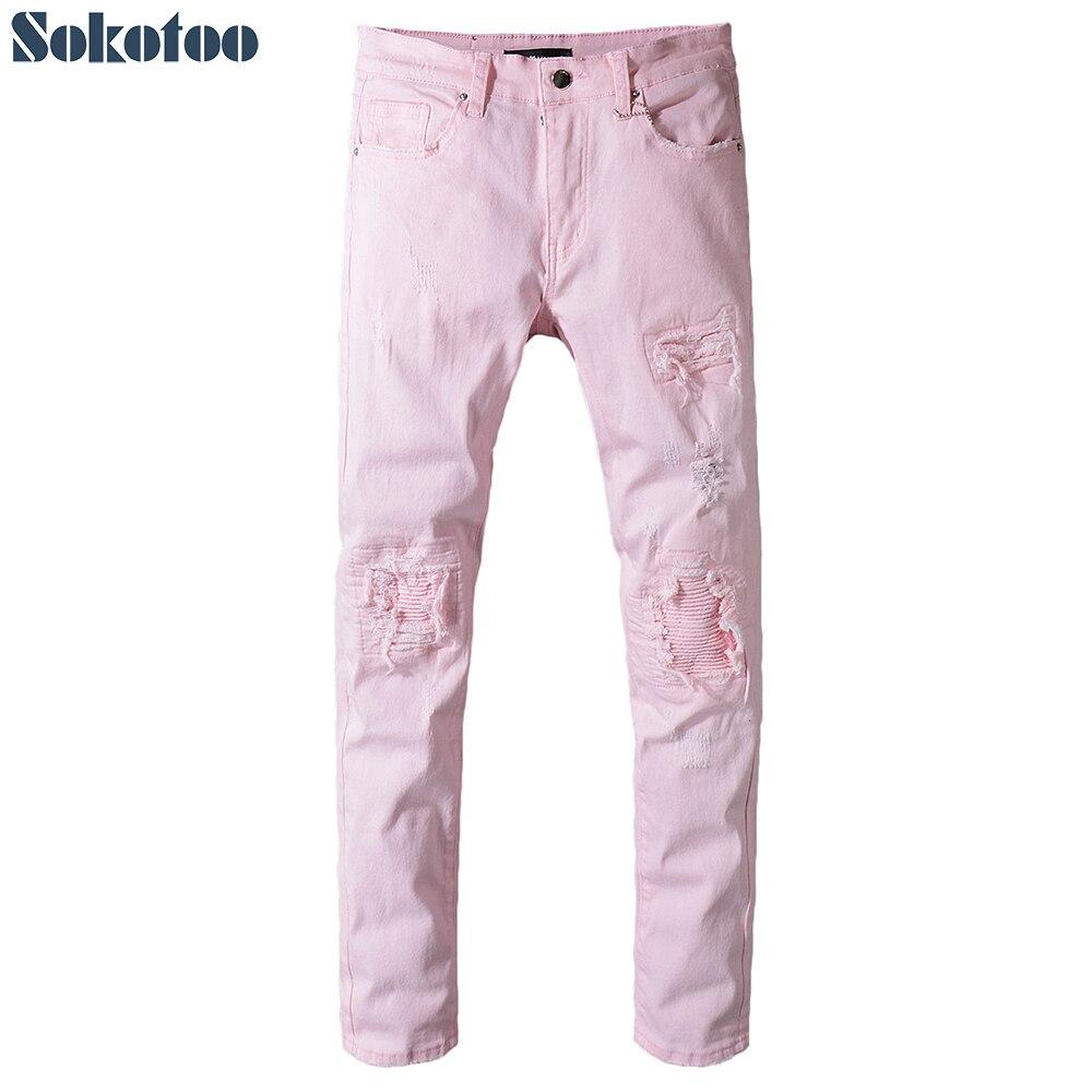 Sokotoo Men's pink denim pleated patchwork slim skinny biker jeans for moto Plus size ripped distressed pants distressed blue jeans men latin cow brand clothing mid stripe luxury denim destoyed men s moto biker jeans ripped uomo 802 c