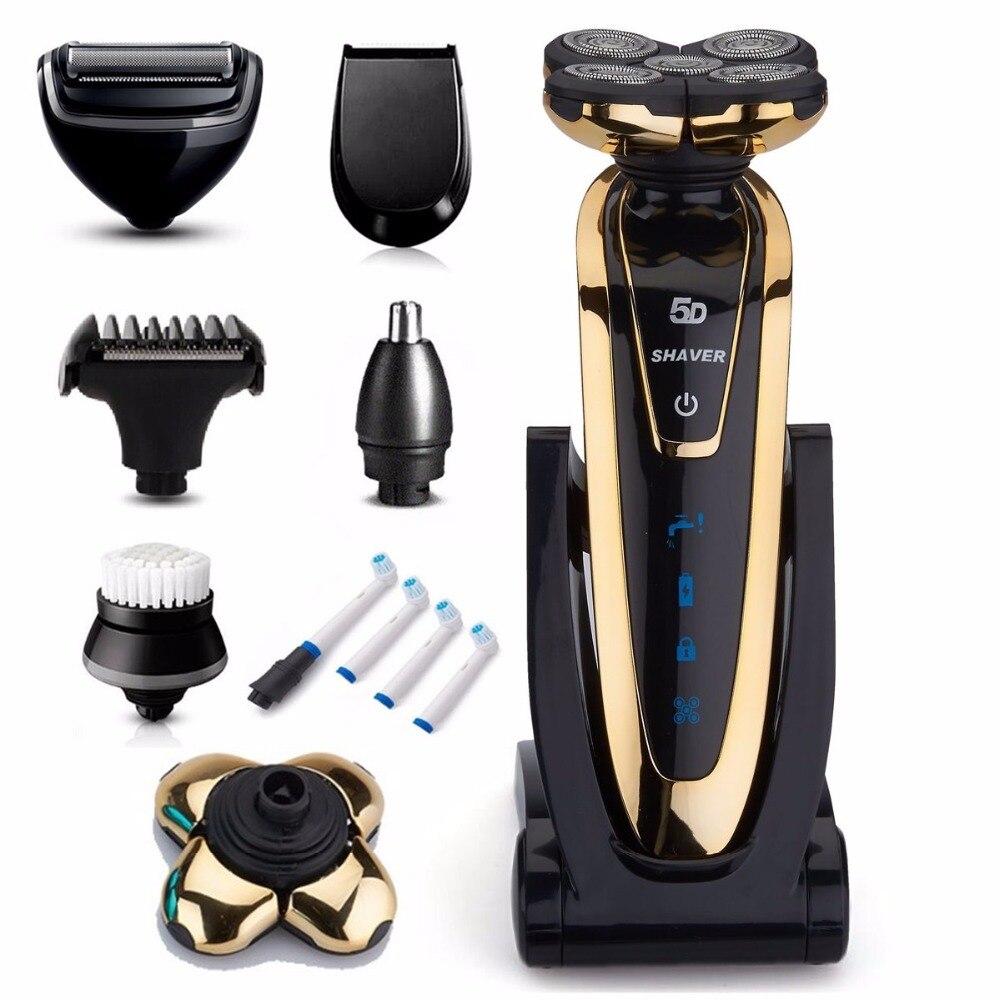 7in1 повернуть бритвы Перезаряжаемые бритвенный станок Электрический Бритвы Мокрый Сухой электробритвы для Для мужчин лицо body groomer стиль комплект