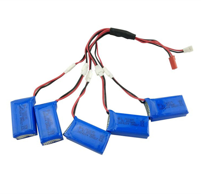5Pcs Upgraded <font><b>400mAh</b></font> 30C <font><b>Lipo</b></font> <font><b>Battery</b></font> 5 and 1 Torr charging cable <font><b>7.4V</b></font> 2S for DM007 RC Quadcopter Part image